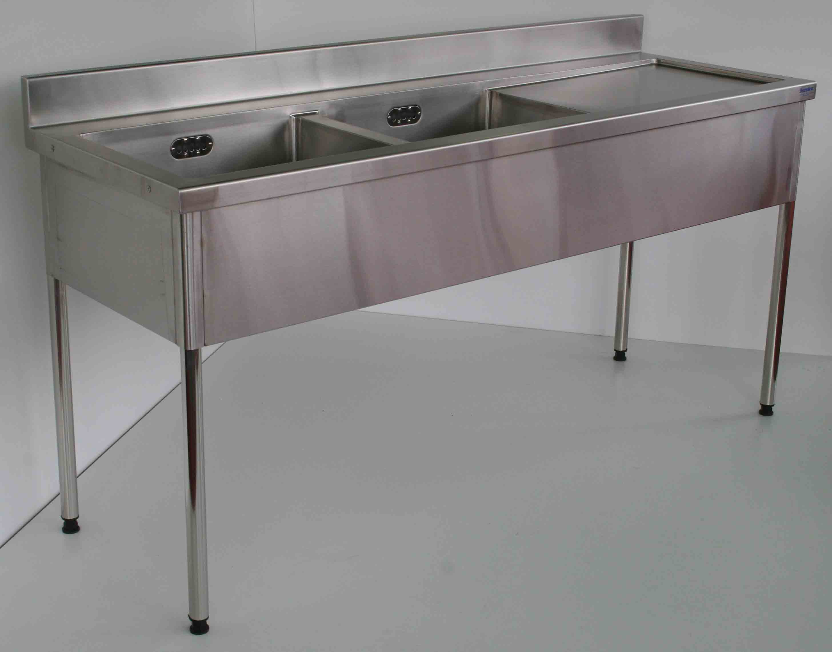 Double Bowl Sink Bench LH 900x1500x600 - Click to enlarge