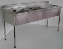 Double Bowl Sink Bench LH 900x1500x600 - Click for more info