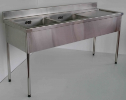 Double Bowl Sink Bench LH 900x1500x750 - Click for more info