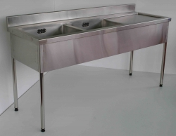 Double Bowl Sink Bench RH 900x1500x750 - Click for more info
