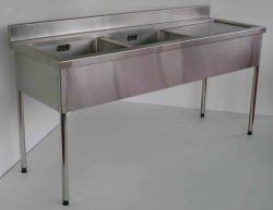 Double Bowl Sink Bench RH 900x1800x600